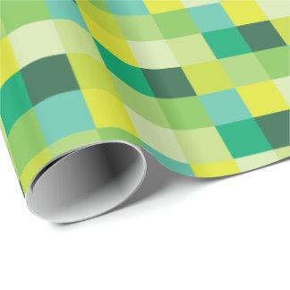 Grüne und gelbe Pixel-Kunst Pixelated Muster-| Geschenkpapier