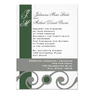 Grüne und graue Rolle-Arbeit 11,4 X 15,9 Cm Einladungskarte