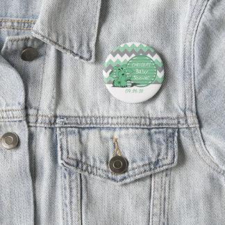 Grüne und graue Zickzack Elefant-Baby-Dusche Runder Button 5,7 Cm