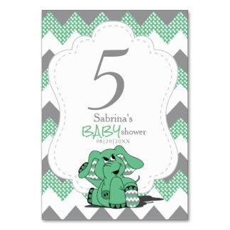 Grüne und graue Zickzack Elefant-Tischnummern Karte