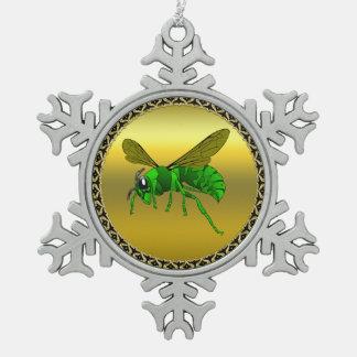 Grüne und Limone Biene des Cartoon mit Goldfolie Schneeflocken Zinn-Ornament