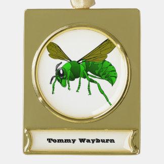 Grüne und Limone Hornissenwespebiene des Cartoon Banner-Ornament Gold