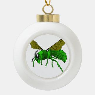 Grüne und Limone Hornissenwespebiene des Cartoon Keramik Kugel-Ornament