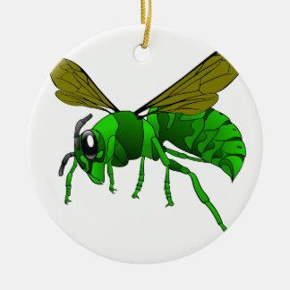Grüne und Limone Hornissenwespebiene des Cartoon Keramik Ornament