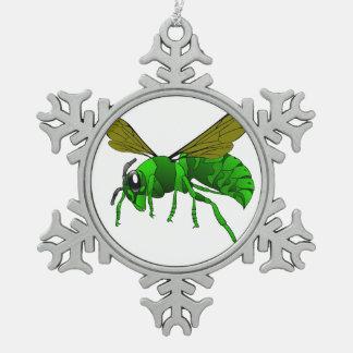 Grüne und Limone Hornissenwespebiene des Cartoon Schneeflocken Zinn-Ornament
