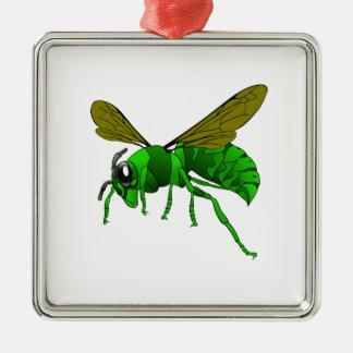 Grüne und Limone Hornissenwespebiene des Cartoon Silbernes Ornament