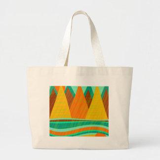 Grüne und orange Landschaft Jumbo Stoffbeutel