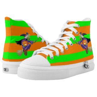 Grüne und orange Streifen Halloweens Hoch-geschnittene Sneaker