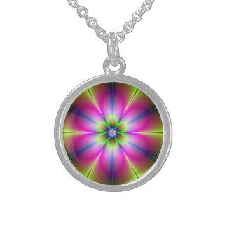 Grüne und rosa Blumen-Halskette Sterling Silberkette