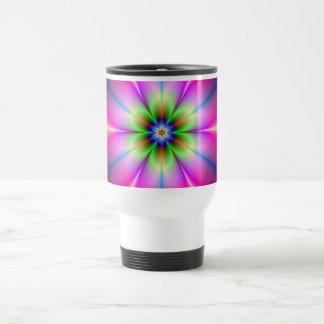 Grüne und rosa Blumen-Tasse Reisebecher
