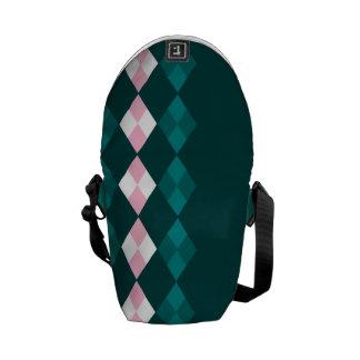 Grüne und rosa Raute Kurier Tasche