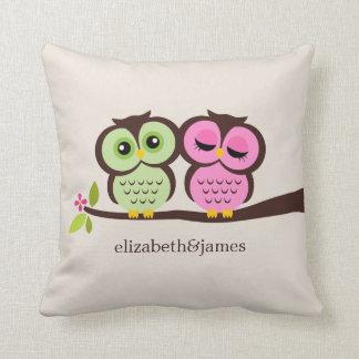 Grüne und rosa Wedding Eulen Kissen