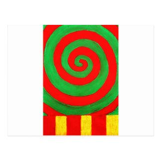 Grüne und rote Pastell-Spirale (naives Muster) Postkarte