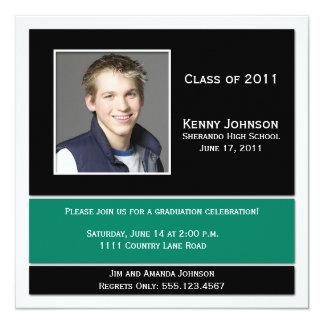 Grüne und schwarze Foto-Abschluss-Einladung Quadratische 13,3 Cm Einladungskarte