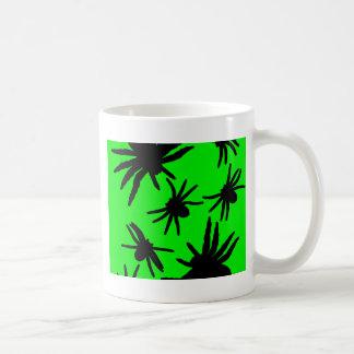 Grüne und schwarze Spinnen Kaffeetasse