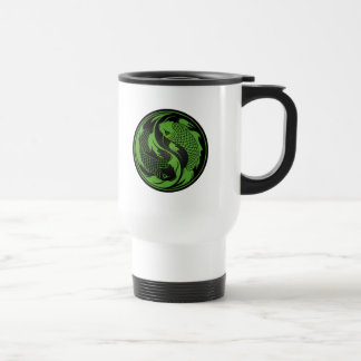 Grüne und schwarze Yin Yang Koi Fische Reisebecher