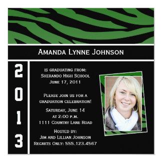 Grüne und schwarze Zebra-Druck-Abschluss-Einladung Quadratische 13,3 Cm Einladungskarte