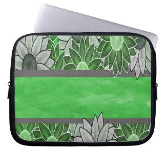 Grüne und weiße Blumen Laptop Sleeve