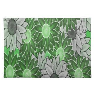 Grüne und weiße Blumen Stofftischset