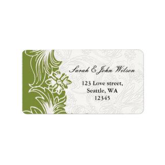 Grüne und weiße Blumenfrühlings-Hochzeit Adressaufkleber