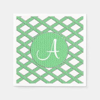 Grüne und weiße kreuzweise Monogrammservietten Papierservietten