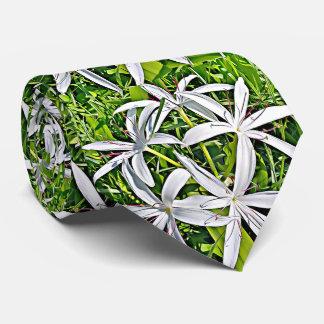 Grüne und weiße Lilie - elegante BlumenKrawatte Krawatte