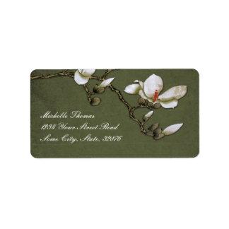 Grüne und weiße Magnolien-Rücksendeadresse Adress Aufkleber