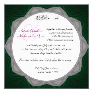Grüne und weiße moslemische Hochzeit Personalisierte Einladungen