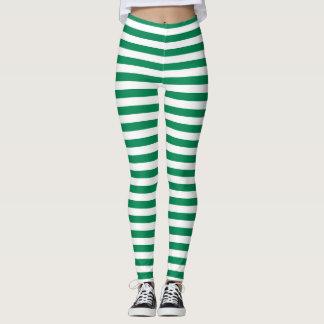 Grüne und weiße Streifen Leggings