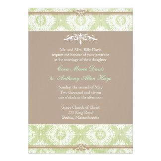 Grüne Victoria-Damast-Hochzeits-Einladung