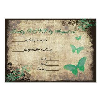 Grüne Vintage Schmetterlings-Hochzeit UAWG Karte 8,9 X 12,7 Cm Einladungskarte