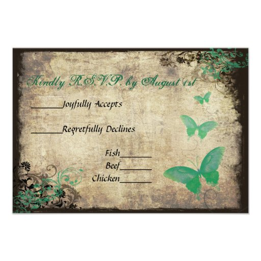 Grüne Vintage Schmetterlings-Hochzeit UAWG Karte Individuelle Ankündigskarten