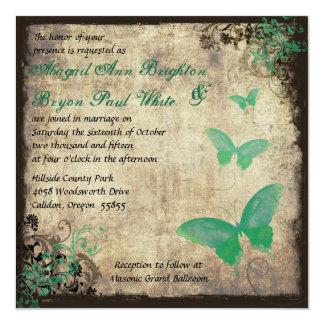 Grüne Vintage Schmetterlings-Hochzeits-Einladung Quadratische 13,3 Cm Einladungskarte