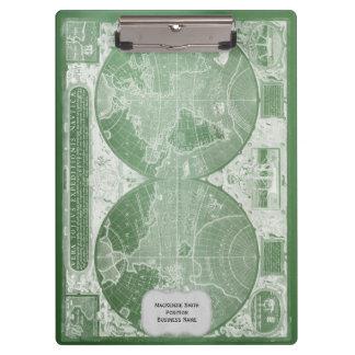 Grüne Vintage Weltkarte personalisiert Klemmbrett