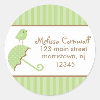 Grüne Vogel-Adressen-Etiketten Runde Sticker