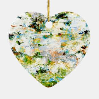 Grüne WasserfarbSchmutz-Grafikdesignkunst Keramik Herz-Ornament