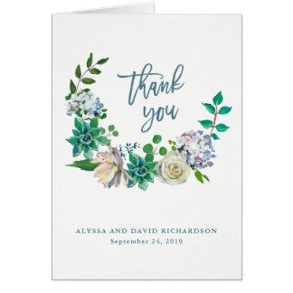 Grüne Watercolor-Succulents und Blumen danken Karte