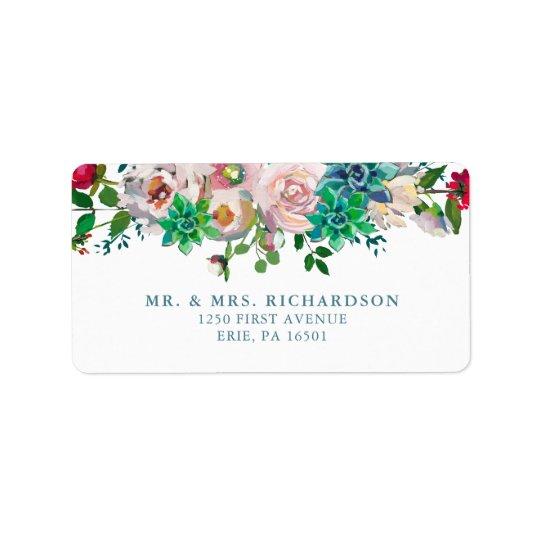 Grüne Watercolor-Succulents und Blumen Wedding | Adressaufkleber
