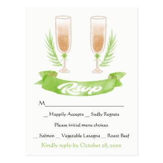 Grüne Wedding UAWG Watercolor-Champagne-Gläser Postkarte