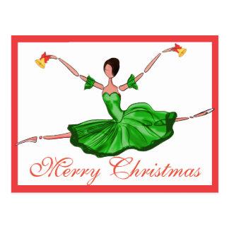 Grüne Weihnachtsballett-Karte, Weihnachtsballerina Postkarte