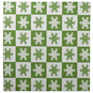 Grüne Weihnachtsschneeflocke-Stoffservietten Stoffserviette