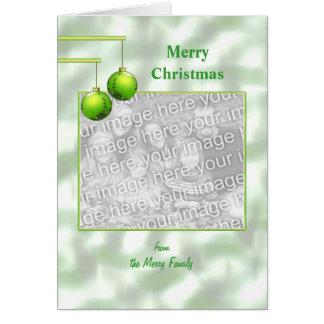 Grüne Weihnachtsverzierungen (Fotorahmen) Karte