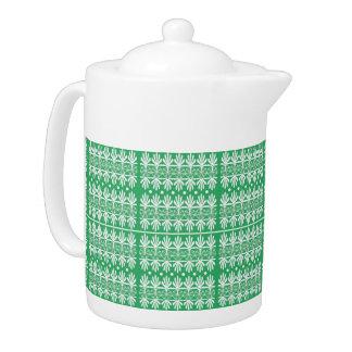 Grüne, weiße Hütten-Art-Medium-Teekanne