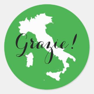 Grüne weiße und schwarze Italien-Hochzeit danken Runder Aufkleber