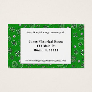 Grüne Western-Hochzeits-Empfangs-Karten Visitenkarte