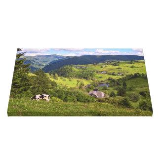 Grüne Wiesen und eine Kuh mit Panoramaansicht Leinwanddruck