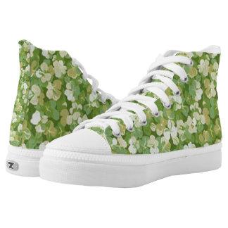Grüne wilde Blumen-Blumenschuhe Hoch-geschnittene Sneaker