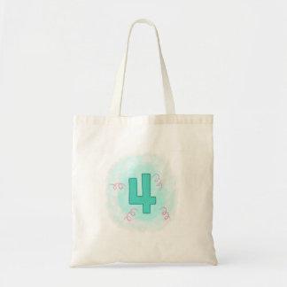 Grüne Wirbels-Geburtstags-Taschen der Nr.-4 rosa Tragetasche