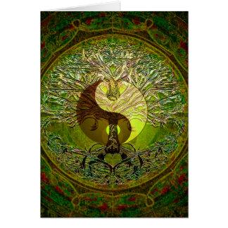 Grüne Yin Yang Mandala mit Baum des Lebens Grußkarte