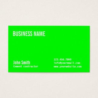 Grüne Zement-Auftragnehmer-NeonVisitenkarte Visitenkarte